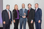 (L-R) President and Chief Technology Officer, John Fratamico, with Stephanie Fletcher, Stephen Poweska, and Parker Hine, from the Leidos Innovation Starter Kit Team, accepting the Leidos Cul ...