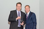 (L-R) Mike Huberty with Chairman and CEO, Roger Krone at Leidos Achievement Awards ceremony on January 31, 2017. Mike Huberty received the CEO Award on behalf of the TFDM team for their work ...