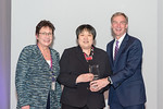 (L-R) Leidos Chief Administrative Officer, Mary Craft, and Linda Fleming from the ITS Costpoint O&M Team, accepting the award for Excellence in Business Support, with Leidos Chairman of the  ...
